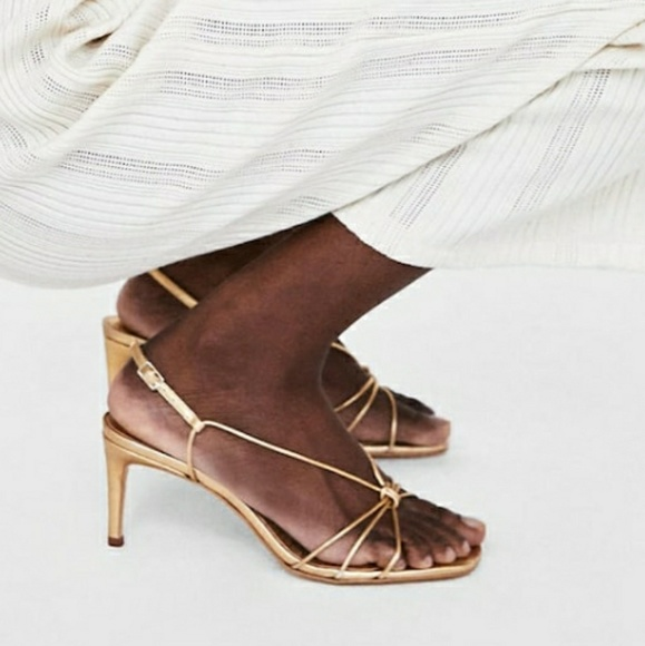 7e64360f9 Zara Gold Metallic Strappy Sandals size 6.5